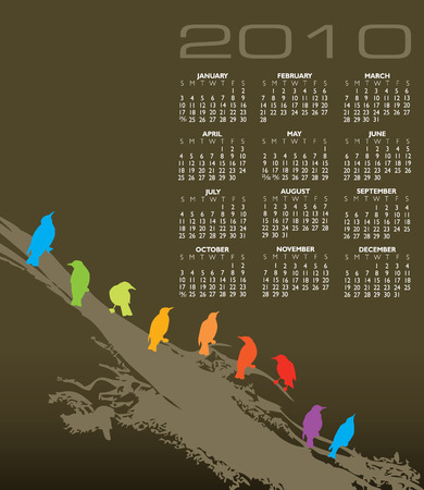 event planner: 2010 vector calendar with birds and space for text Illustration