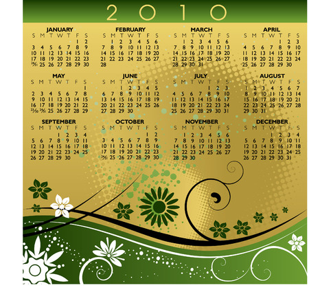 2010 floral calendar. With Space for your Logo and text.