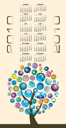 A globe Calendar for 2010 with space for logo and text  Illustration