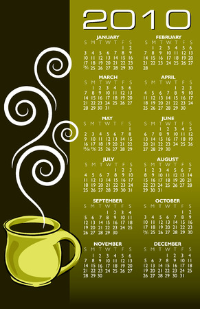 2010 coffee calendar. With Space reserved for your text. Vector