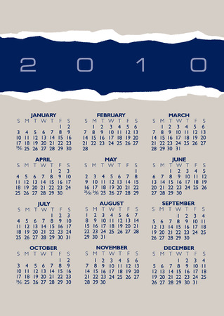 A 2010 vector calendar of torn paper with space for text Stock Vector - 5447349