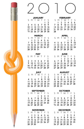 A 2010 Knotted Pencil Calendar Illustration
