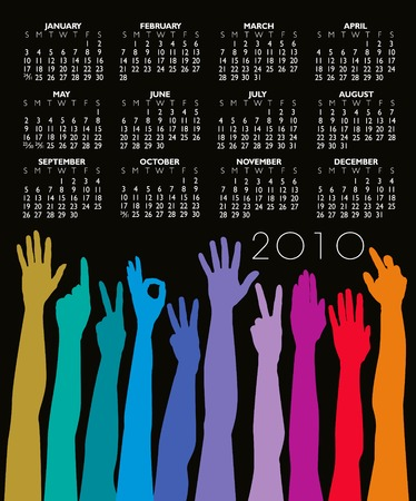 2010 Hands of all races calendar with space for your Logo Stock Vector - 5481002