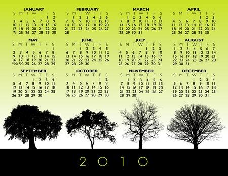 A 2010 vector tree calendar Stock Vector - 5483921