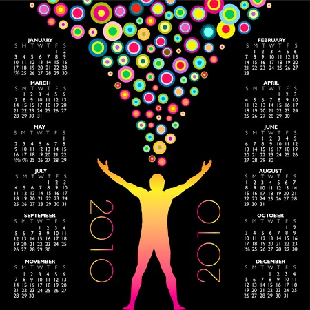 2010 calendar with a colorful man Stock Vector - 5515815