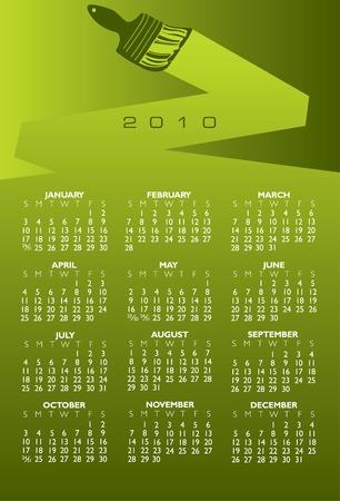 2010 paint brush calendar in vector format Stock Vector - 5515816