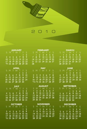 2010 paint brush calendar in vector format