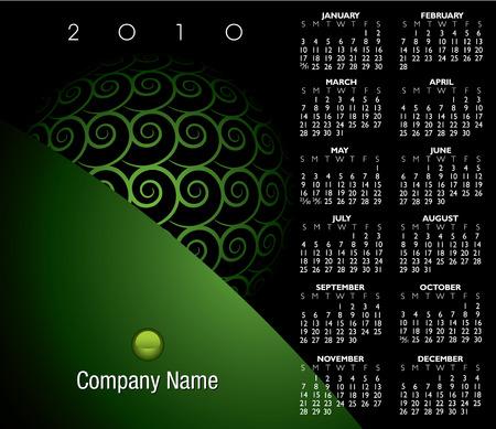 scheduler: 2010 abstract swirl calendar Illustration