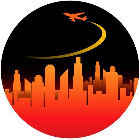 Een circulaire, stad vector achtergrond met ruimte voor uw tekst