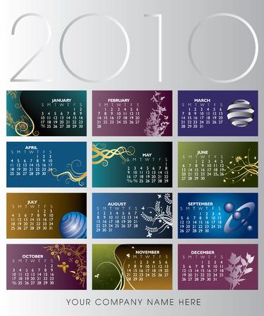 2010 年花のカレンダー。あなたの会社の名前のためのスペースと