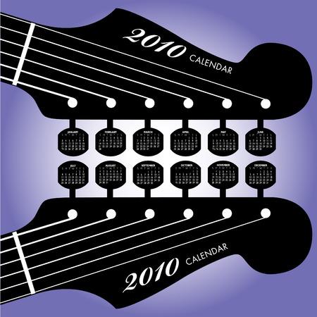 2010 Music, Guitar Calendar Stock Vector - 5515820
