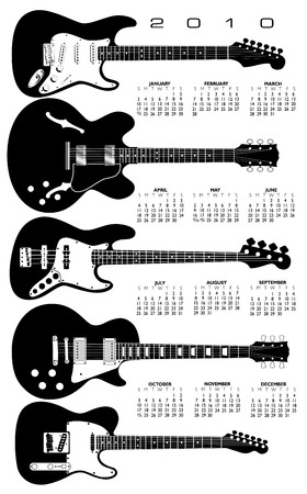 Music, Guitar Calendar for 2010. With Space reserved for text Stock Vector - 5515825