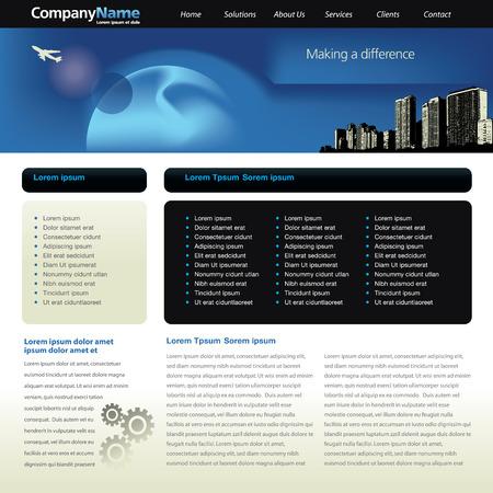 Bewerkbare vector website sjabloon met stads gezicht, straal en kaart  Stock Illustratie