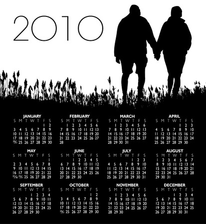 A man and woman walking in a field, 2010 calendar Illustration
