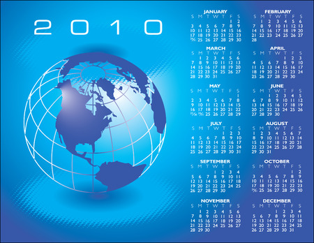A globe Calendar for 2010 with space for logo and text  Stock Vector - 5540916