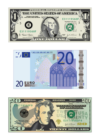 A detailed vector drawing of a 20 euros banknote and 2 us bills