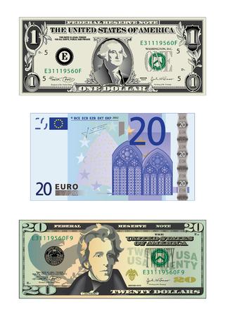 Een gedetailleerde vector tekening van een bank biljet van 20 euro en 2 ons rekeningen