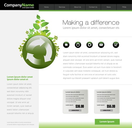 website header: Green website template