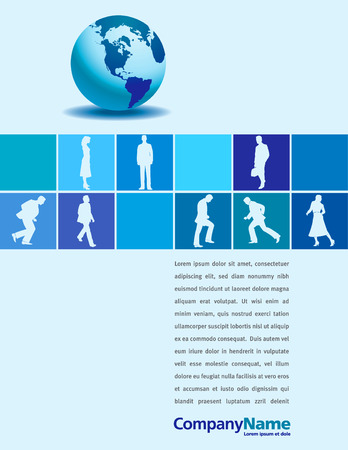 A vector page layout with a globe and businesspeople Stock Vector - 5948375