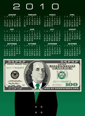 2010 one hundred dollar bill Calendar with Ben Franklin Stock Vector - 6133419