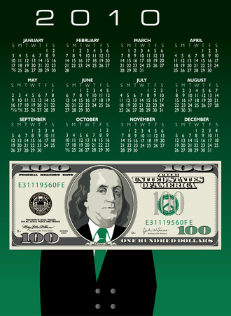 one dollar bill: 2010 one hundred dollar bill Calendar with Ben Franklin
