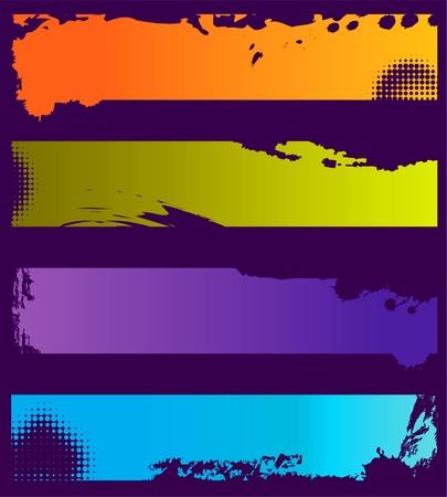 Choice of Four colorful grunge banners with space for text  Vectores
