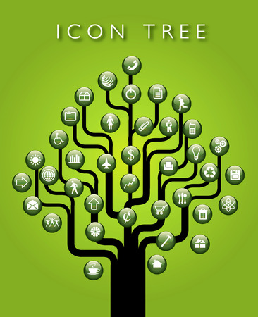 A vector icon tree with space for text