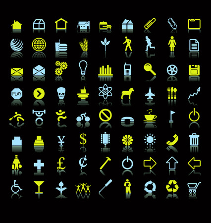 A set of seventy two colorful vector icon symbols with reflections