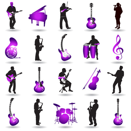 Twenty colorful music elements Stock Vector - 6562426