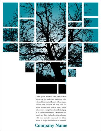 Web または印刷用のユニークなツリー ページ レイアウト  イラスト・ベクター素材