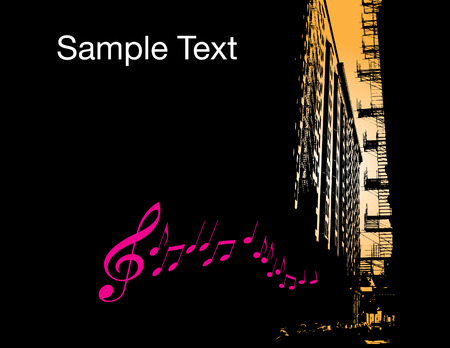 City Music Background with space for text Stock Vector - 6652926