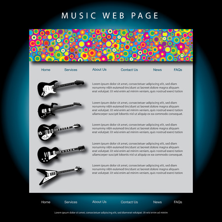 music web site design template Stock Vector - 6652929