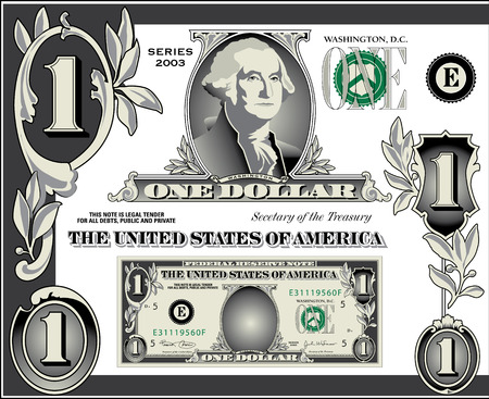 Miscellaneous  dollar bill elements Stock Vector - 6665329
