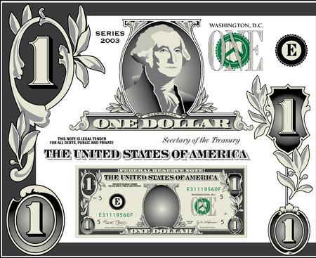 dollaro: Vari elementi di dollaro fattura