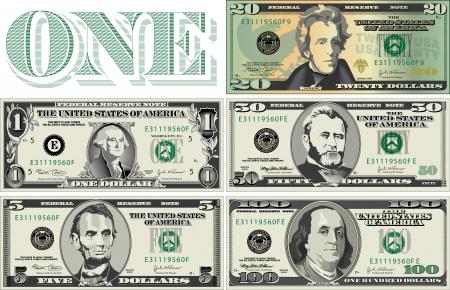 법안: 지폐의 다섯 가지 세부, 양식에 일치시키는 그림 일러스트