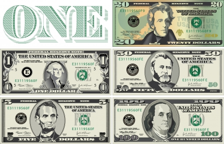 one dollar bill: Five detailed, Stylized drawings of Bills Illustration