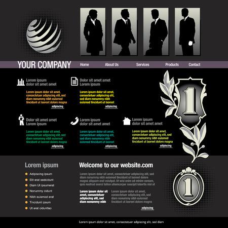 web site design template with business figures Ilustrace