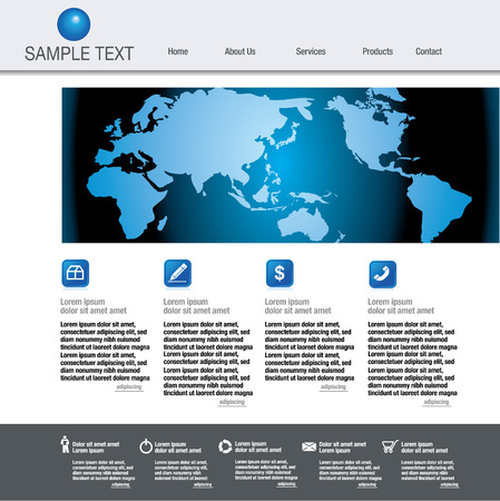 web site design template with globe