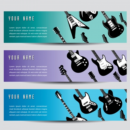 A set of three guitar banners  Ilustrace