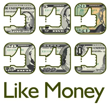 Een reeks zoals pictogrammen, gemaakt van geld Stock Illustratie