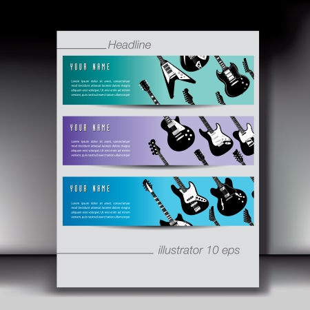 Three Guitar Banner backgrounds