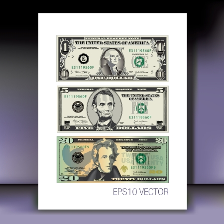one dollar bill: Three detailed, Stylized Vector Drawings of Bills on a Mauve Background Illustration