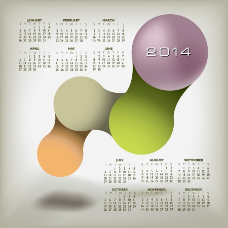 2014 Creative Calendar for Print or Web  Illustration