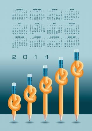 2014 Creative Knotted Pencil Calendar