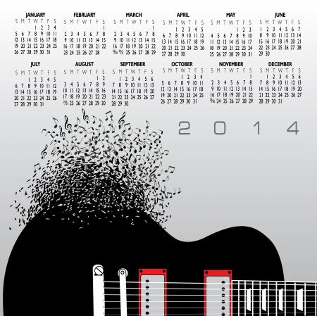 2014 Guitar Creative Calendar for Print or Web