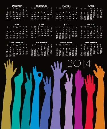 scheduler: 2014 Creative Hands Rainbow Calendar for Print or Website Illustration