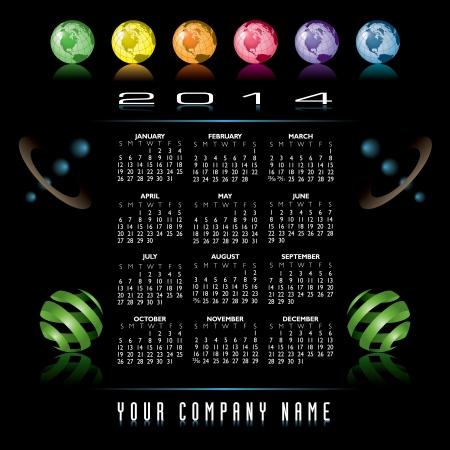 2014 Creative Globes Calendar for Print or Website