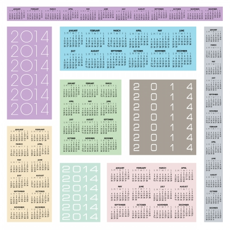 2014 Creative Calendar in multiple configurations for Print or Web  Illustration