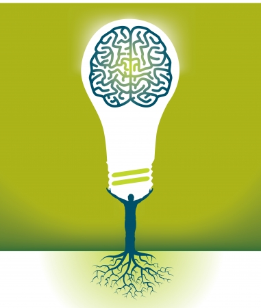 oneness: Abstract Vector Man-Brain-Bulb Background for Print or Web