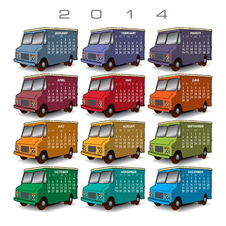 event planner: 2014 Creative Truck Calendar for Print or Website Illustration